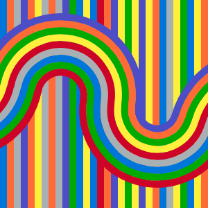 captura del resultado visual del código que reinterpreta la obra wall drawing 1136 de Sol Lewitt. En ella aparecen lineas y curvas de una serie de colores saturados.